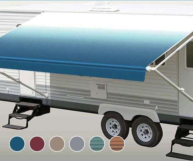 Variety of Color Options RV Awning Fabric RV Awning Replacement Ocean Blue Fade Standard Grade Vinyl 18 Feet Width