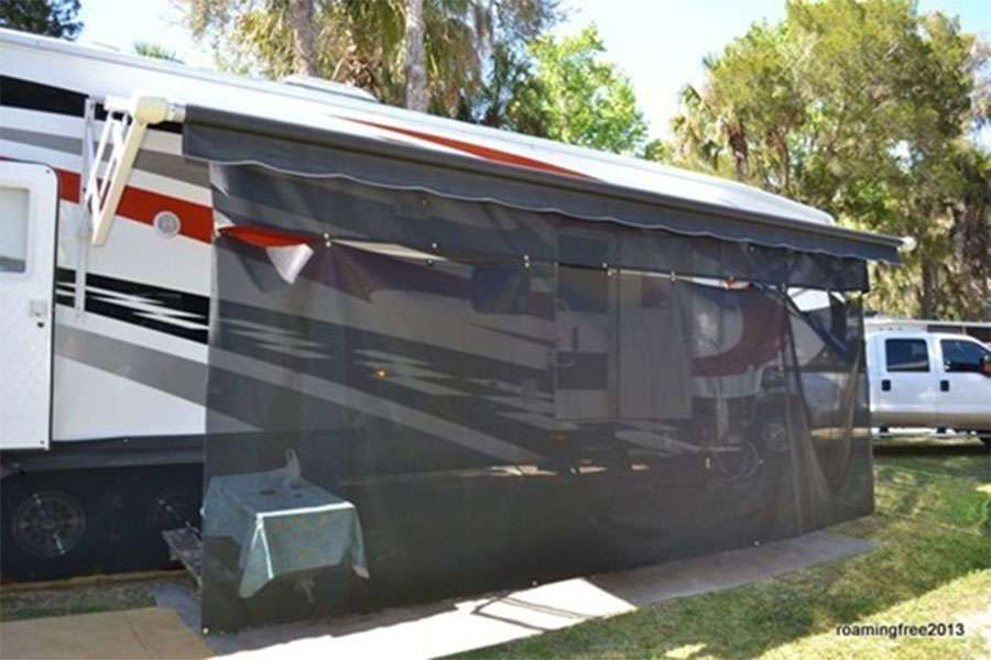 RV Awnings Mart Sun Shade attached to awning fabric
