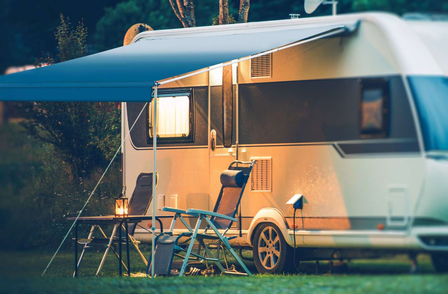 camper with clean awning fabric