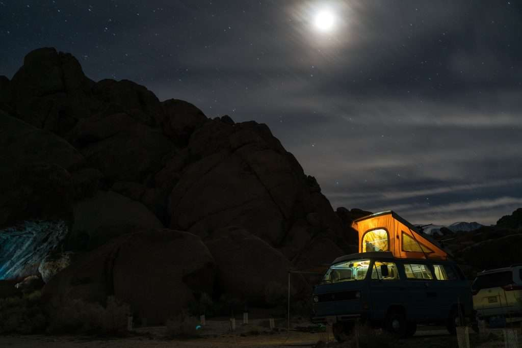 camper with lights